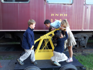 Hand pumping at the Roanoke Rail Museum