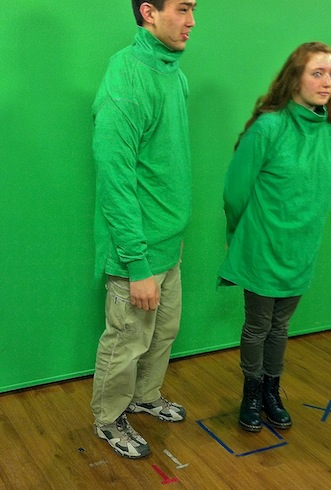 This is how it is done green shirts on green screen.