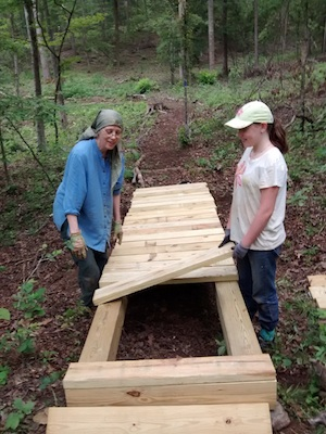 Laying out the new bridge with Safiyya.